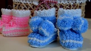 Пинетки спицами узором Ёжик(Кукурузка). Baby booties.  pattern Hedgehog (Corn)
