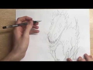 REAL TIME! How to draw a Overgrown Rover [Dragon level] - One-Punch Man
