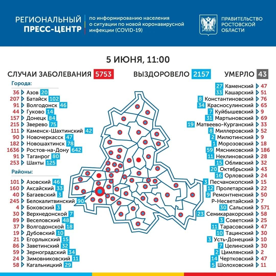 Число инфицированных COVID-19 в Ростовской области выросло на 196
