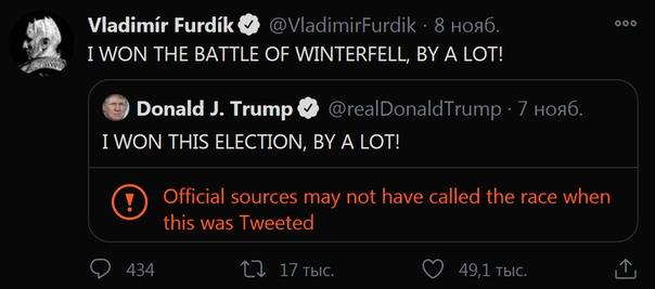 Владимир Фурдик, сыгравший Короля Ночи в «Игре престолов», в твиттере затроллил Дональда Трампа