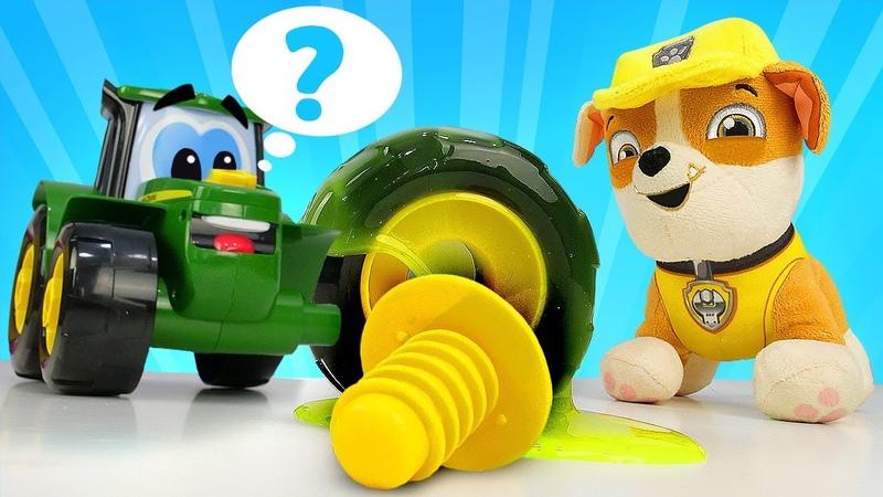 Giochi con slime! - Johnny ha perso la ruota. Paw Patrol al lavoro! - Video educativi per bambini