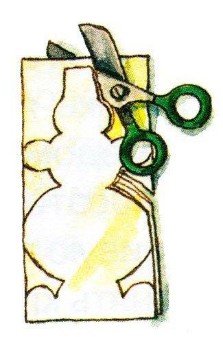 ОТКРЫТКА ХОРОВОД СНЕГОВИКОВ 1. Приготовим белую плотную бумагу размером 16X24 см. Приклеим на неё синюю бумагу по центральному сгибу.2. Сложим пополам по длинной стороне белую бумагу размером
