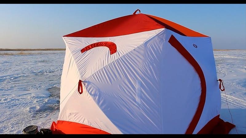 Рыбалка на озере Зайсан обзор палатка Медведь КУБ 4 дровяная печь Экономка Малая Берег