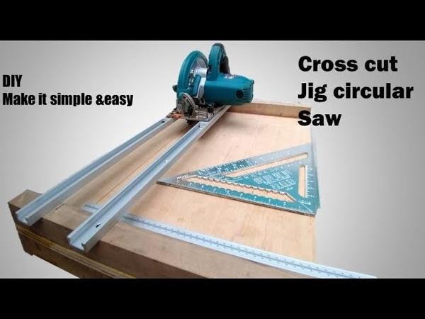 Homemade circular saw crosscut jig
