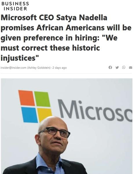 На волне мародерства и коричневой волны планеты обезьян Майкрософт ввели новую политику найма на работу Теперь в корпорацию будут нанимать не лучших специалистов и талантливых работников, а