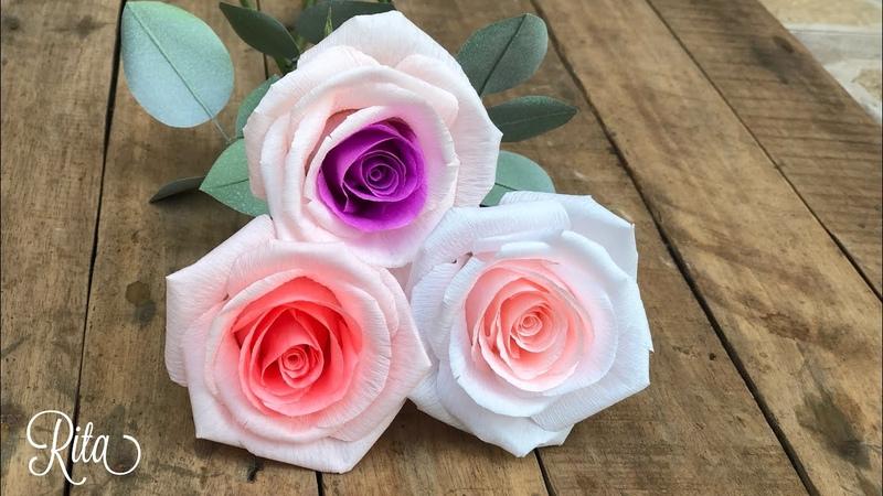 Crepe paper mix color rose tutorial Làm hoa hồng giấy nhún 2 màu Rita Handmade