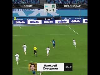 3-1 Алексей Сутормин 90+3' Зенит - Краснодар