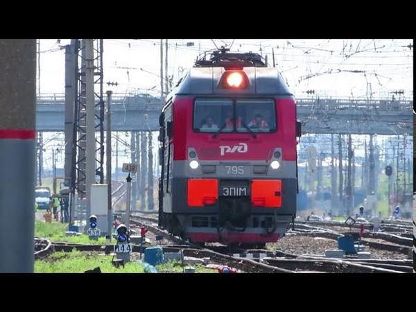 2ЭС5К ЭП20 ЭД9Э ЭП1М РА2 движение поездов по станции Нижний Новгород Московский 15 07 2020