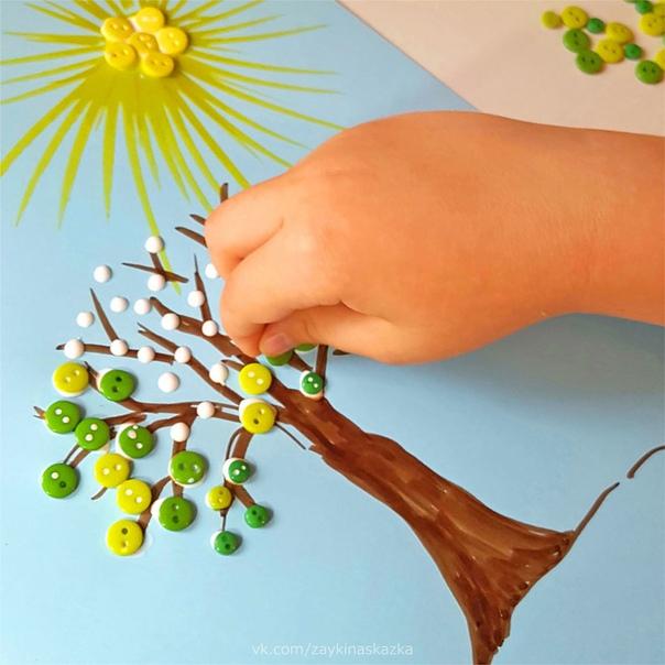 ПОДЕЛКИ ИЗ ПУГОВИЦ Девять идей для совместного творчества с ребёнком.Работа с пуговицами развивает мелкую моторику.Этап 1Нарисуйте карандашом картинку, которую вы хотите выложить из пуговиц.