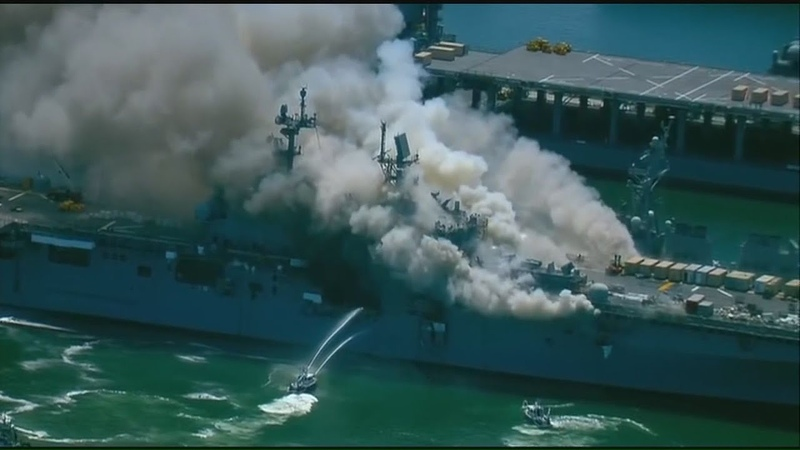 USS Bonhomme Richard explodes catches fire in San Diego raw video