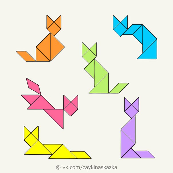 ГОЛОВОЛОМКА «ТАНГРАМ» Древнекитайская головоломка «Танграм» представляет собой квадрат, разрезанный на 7 частей треугольников и квадратов разного размера. Пусть количество деталей невелико, но