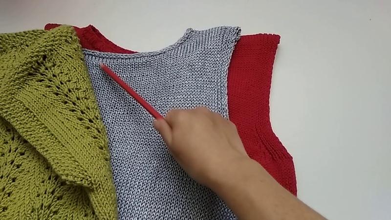 Вязание. Моя любимая обработка проймы рукава в топах и майках.