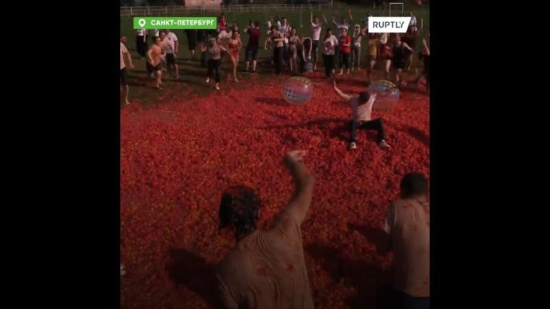 Петербуржцы закидали друг друга 20 тоннами помидоров на Ла Томатине