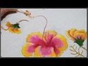 DIY Hibiscus ... Hand Embroidrey Hoa Dăm Bụt Thêu Tay