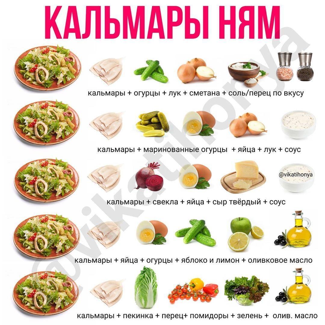 Салатики с рыбой и морепродуктами