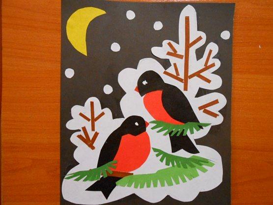 Аппликация: «Снегири» Автор: Ирина Пасынкова