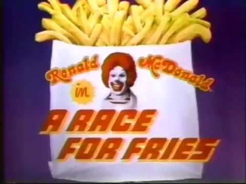 Ronald McDonald In A Race For Fries 1980 McDonald's Commercial