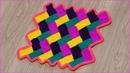Вязание коврика Паркет с волнистыми краями тунисским крючком Часть 1 Crochet mat Part 1