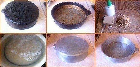 Волшебный секрет очистки бабушкиной сковороды Наверняка у вас дома есть старая удобная сковородка, пользоваться которой стало невозможно из-за огромного слоя пригоревшей грязи. Не спешите