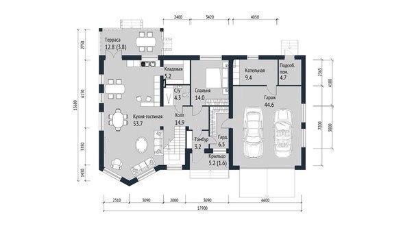 Эскиз проекта двухэтажного дома