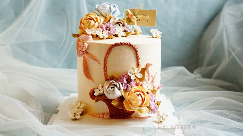 Wonderful Cake Decoration With 2D Flower Basket | Bánh Trang Trí Đẹp Với Giỏ Hoa 2D
