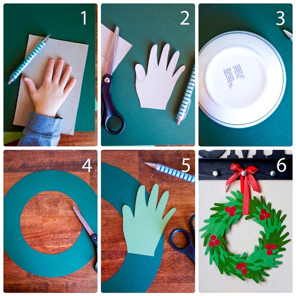 Веночек из ладошек Вам понадобится:цветная бумага, тарелка, простой карандаш, ножницы, ленточка.Мастер-классОбведите ладошку на бумаге, затем вырежьте его.Сделайте 30 ладошек таким