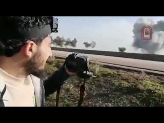 Video showing artillery and air strikes by Russian aircraft against towns and villages of the southern countryside of Aleppo