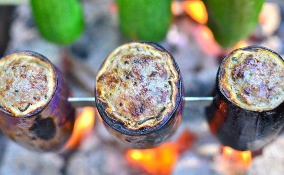 Шашлык из фаршированных овощей