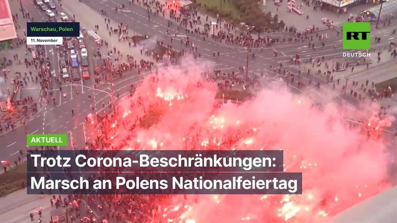 Warschau Trotz Corona-Beschränkungen – Marsch an Polens Nationalfeiertag