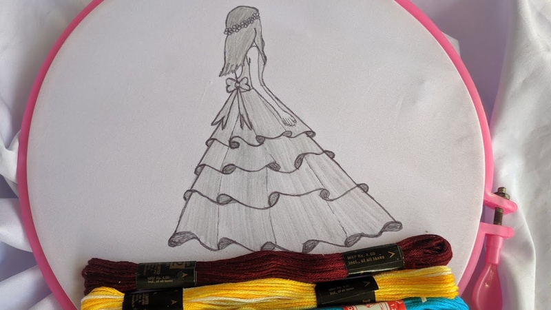 Hand Embroidery Doll design tutorial Hand Embroidery Doll design stitch Kurti dress kameez suit