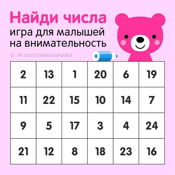 ИГРА «НАЙДИ ЧИСЛА» Покажите ребёнку таблицу с набором чисел от 1 до 24, которые располагаются в произвольном порядке. Но вначале убедитесь, что малыш знает все эти числа. Скажите ему: