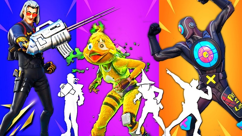 Fortnite ALL Built In Emote with new Leaked Skins Hit Man Bun Bun Quackling Boxer Boxy Redux