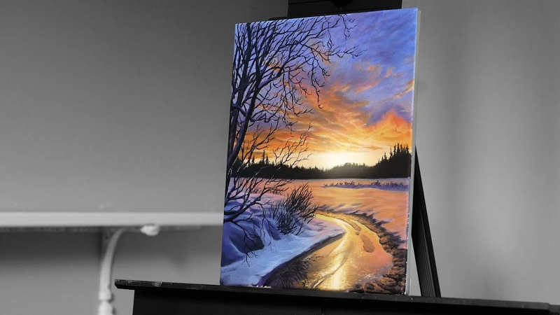 Painting a Snowy Winter Landscape with Acrylics Paint with Ryan