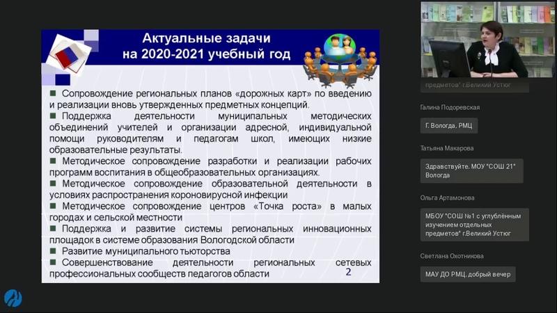 Вебинар по воп пр метод мер и метод сопр ОО мун районов городских окр обл в 20 21 уч году