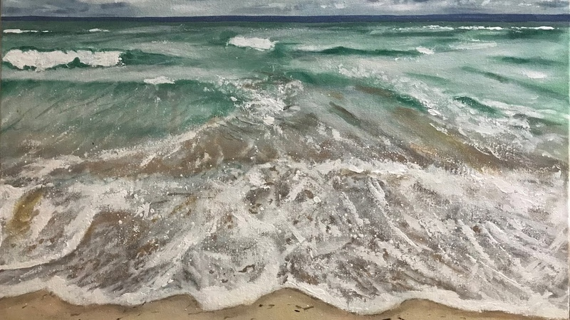 HOW TO PAINT WAVES FOAMS SEASCAPE ACRYLIC PAINTING TUTORIAL REAL TIME