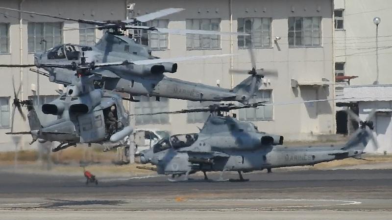 米海兵隊AH-1ZUH-1Y 5機編隊飛来(着陸編)•小牧2017.03.12